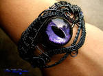 Wire Wrapped Dragon Eye Bracelet - Violet Black