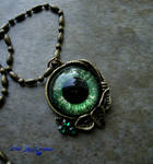 Autumn Harvest - Green Dragon Eye Pendant