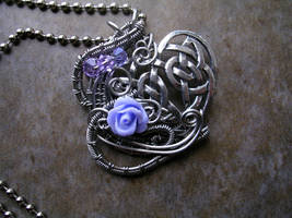 Celtic Lavender Rose Heart - Wire Wrapped Pendant by LadyPirotessa