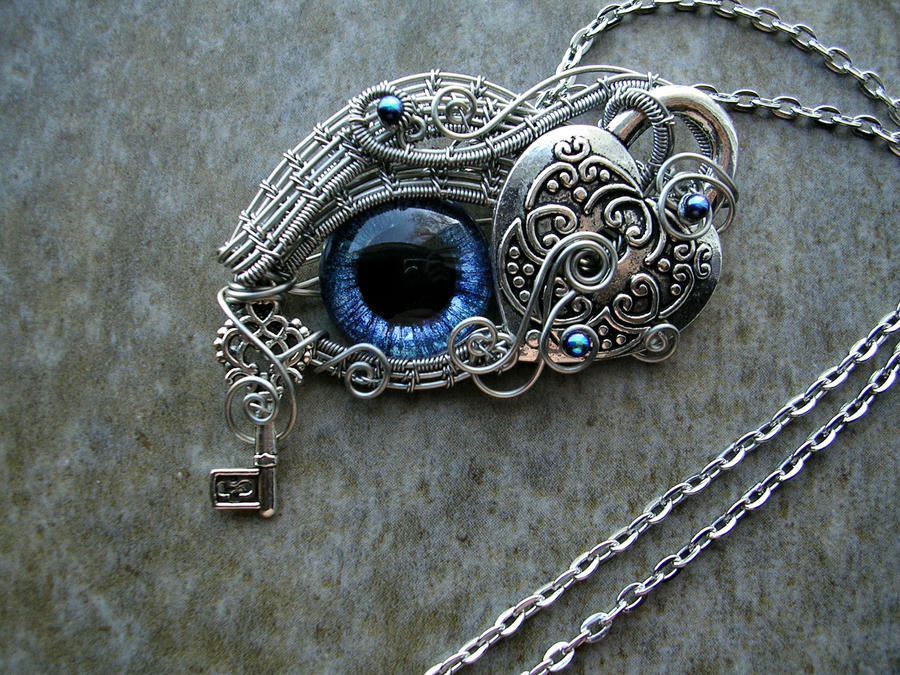 Heart lock key dragon wolf eye pendant necklace by ladypirotessa mozeypictures Choice Image