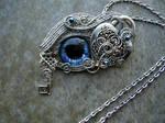 Heart Lock Key  - Dragon Wolf Eye Pendant Necklace