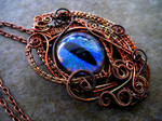 Rainbow Peacock Copper Wire - Dragon eye pendant