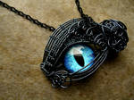 Custom - Wire Wrapped Pendant Dragon Eye Sky Ocean by LadyPirotessa