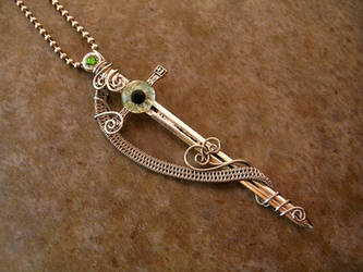 Knight's Sword - Wire Wrapped Pendant by LadyPirotessa