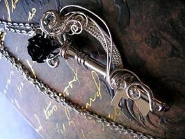 Swirling Silver Fantasy Key Pendant - Black Rose by LadyPirotessa
