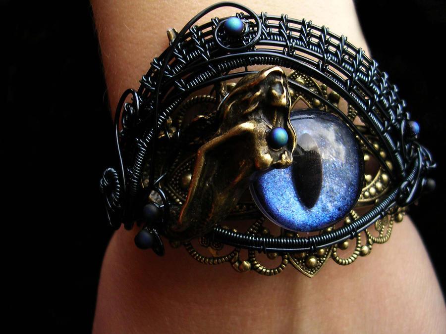 Mermaid Gothic Bronze Smoke Bracelet Cuff by LadyPirotessa