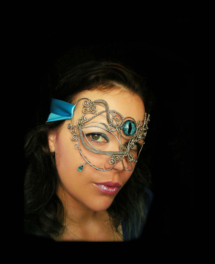 Teal Aqua Mask Commission with Tear by LadyPirotessa