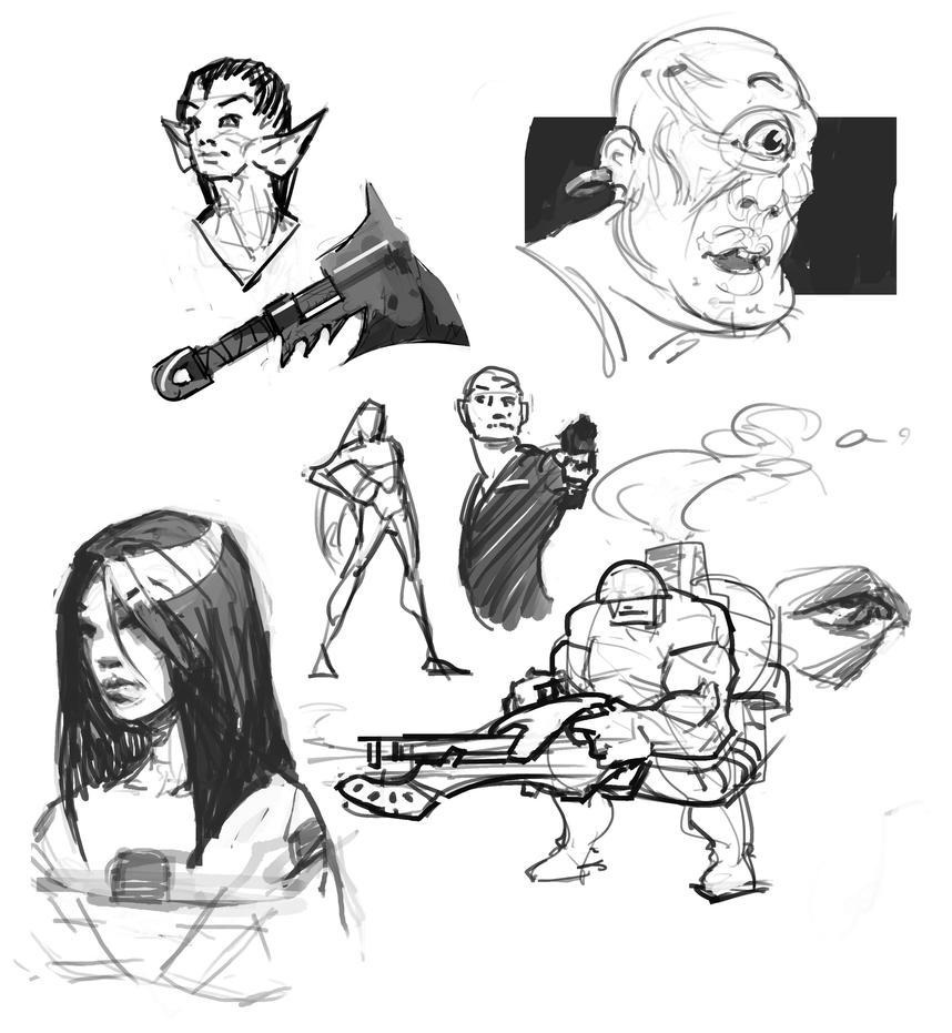 Late night sketch dump by JRettberg
