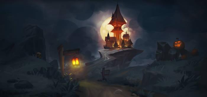 Time-lapse Painting - Spooky Castle