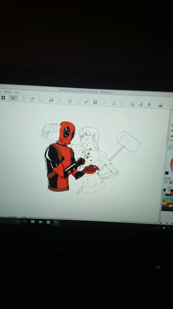 (work in progress) deadpool and harley quinn  by djm106
