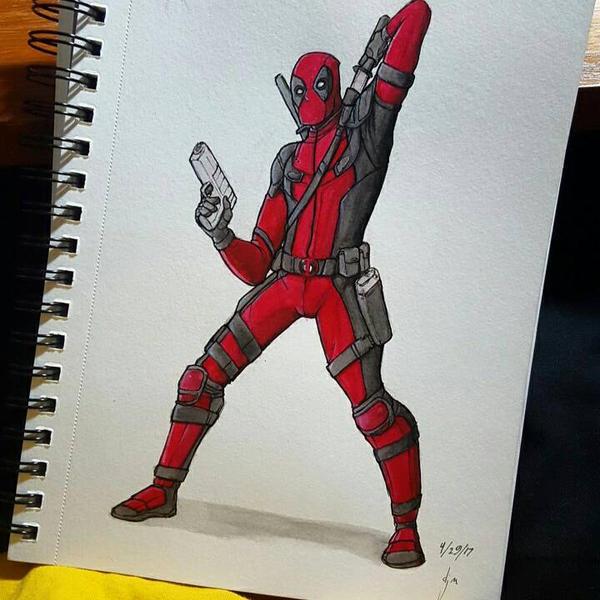 deadpool watercolor by djm106