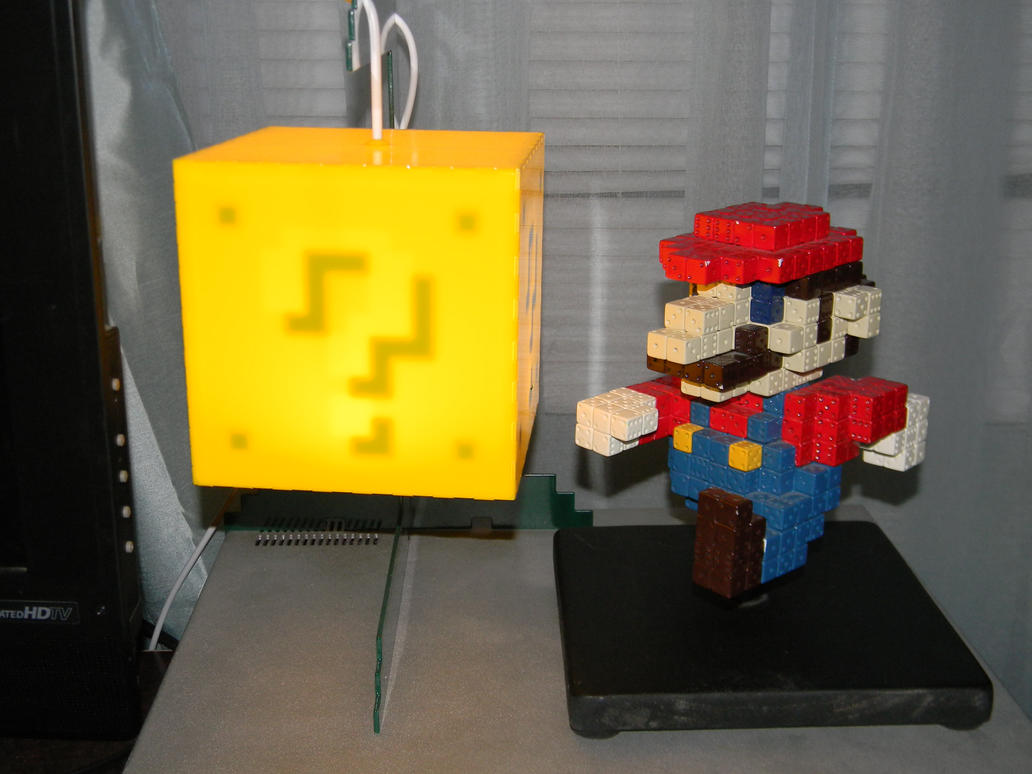 3D Mario Sprite and 8-bit Lit Question block by stardust4ever