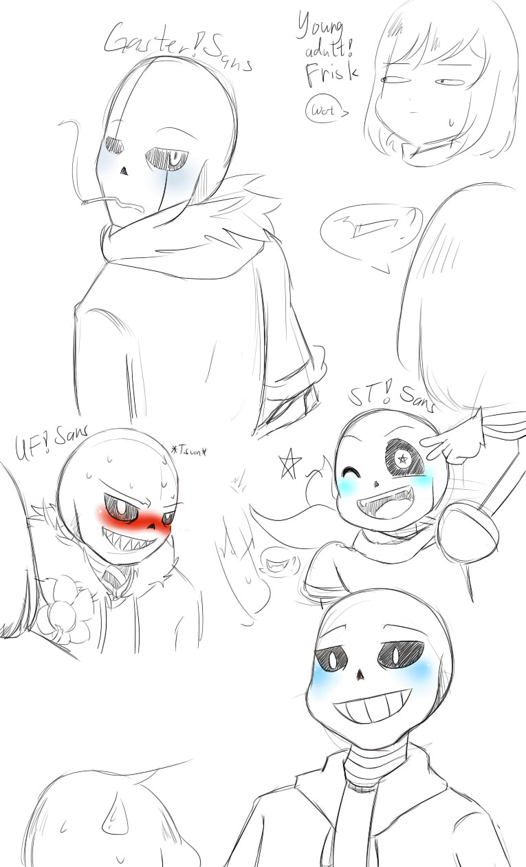 Multiple Sans blushes sketchies by WarandCats
