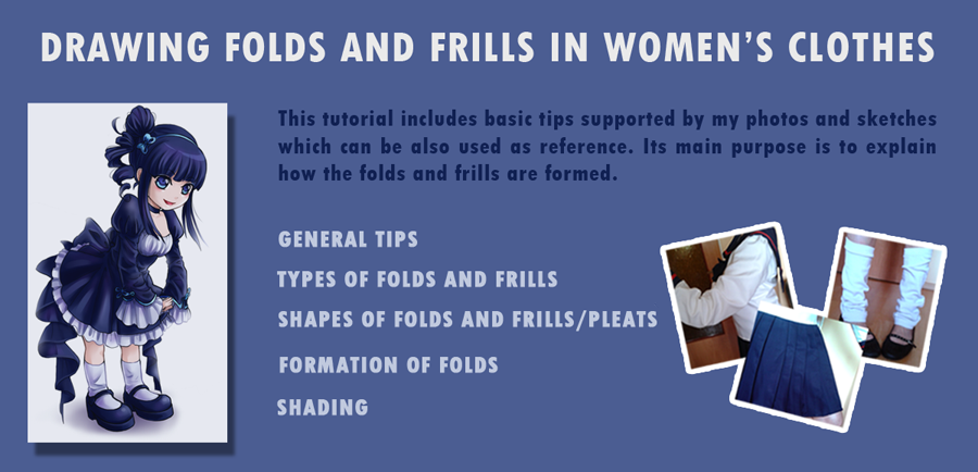Drawing folds and frills in women's clothes