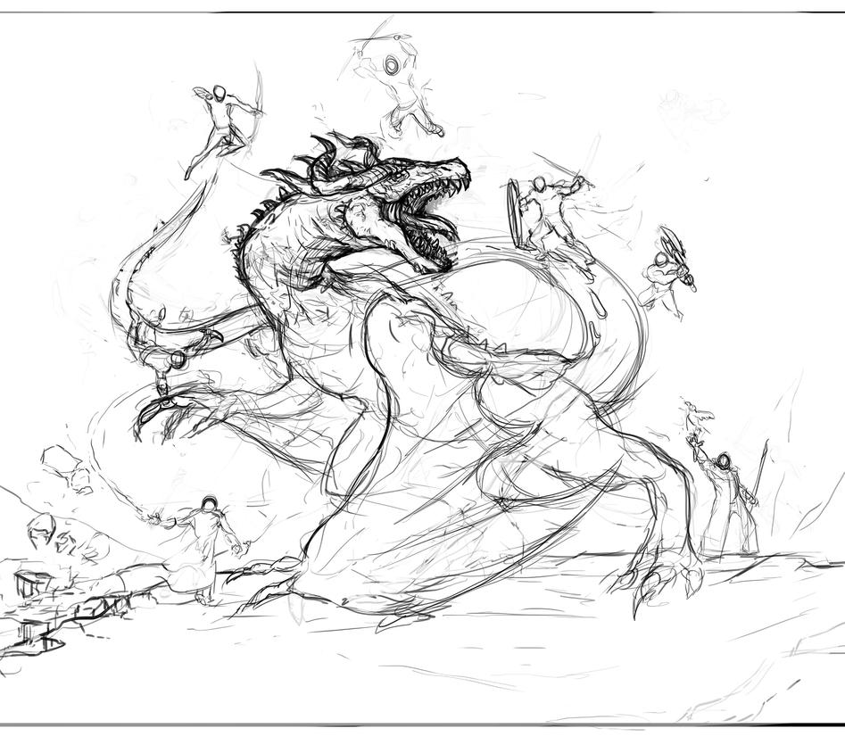 Pencil Drawings Of Dragons Fighting Dragon fight by Dragon...