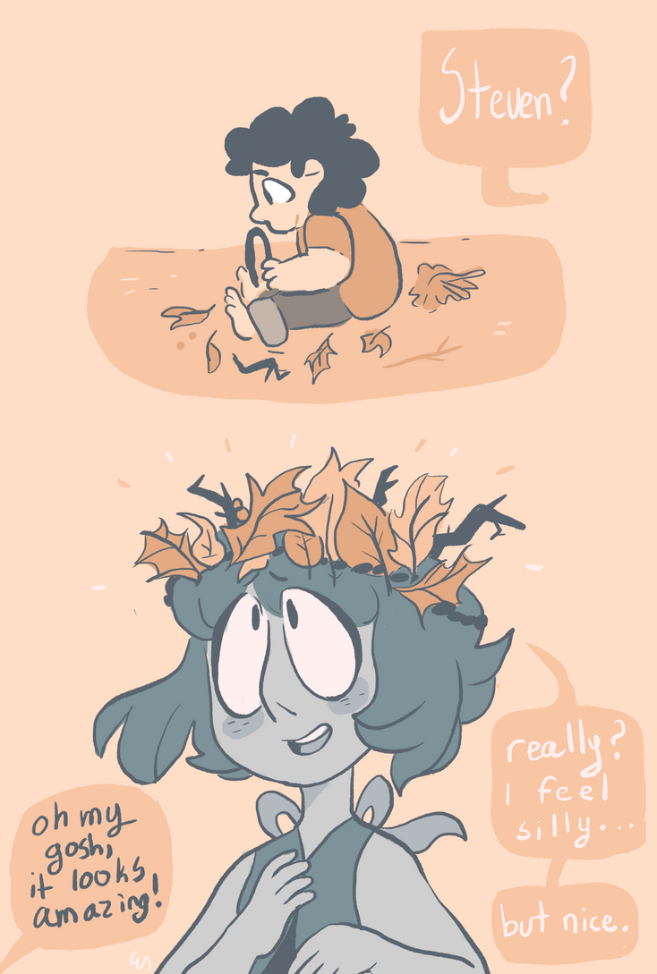it's cliché but... steven would make her a leaf crown if it made lapis happy... also on tumblr: mushroomstairs.tumblr.com/post…