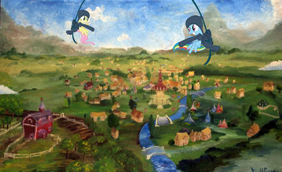 Fluttershy and RD swinging through Ponyville