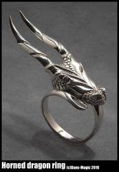 Horned Dragon Ring by EagleWingGallery