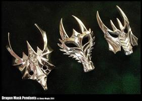 3 Dragon mask pendants