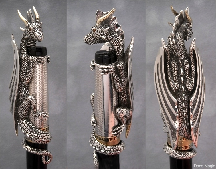 Sterling silver - 14k gold - Dragon 'Pen Topper' by Dans-Magic