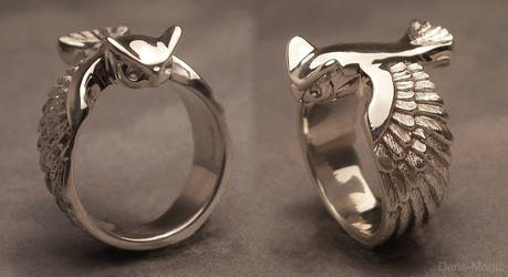 Great horned owl ring by EagleWingGallery