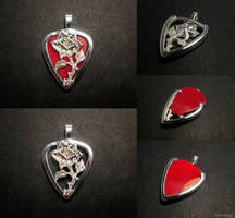Rose guitar pick holder pendant by EagleWingGallery