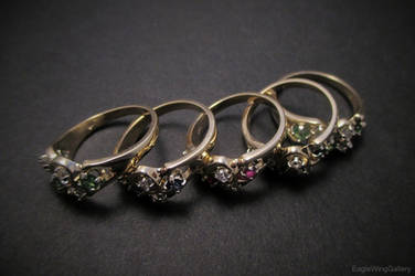 Abstract Gold Rings by EagleWingGallery