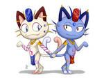 TS Meowth twins by skull1045fox
