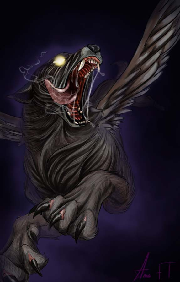 Evil black winged wolf - photo#2