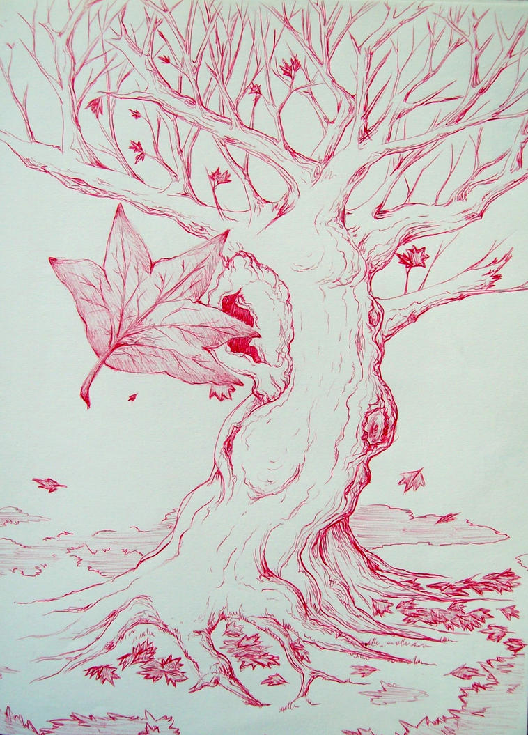 red tree sketch by conncept on deviantart