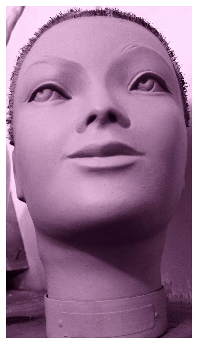 Vintage Punk Lady Head In Purple by TreePruitt