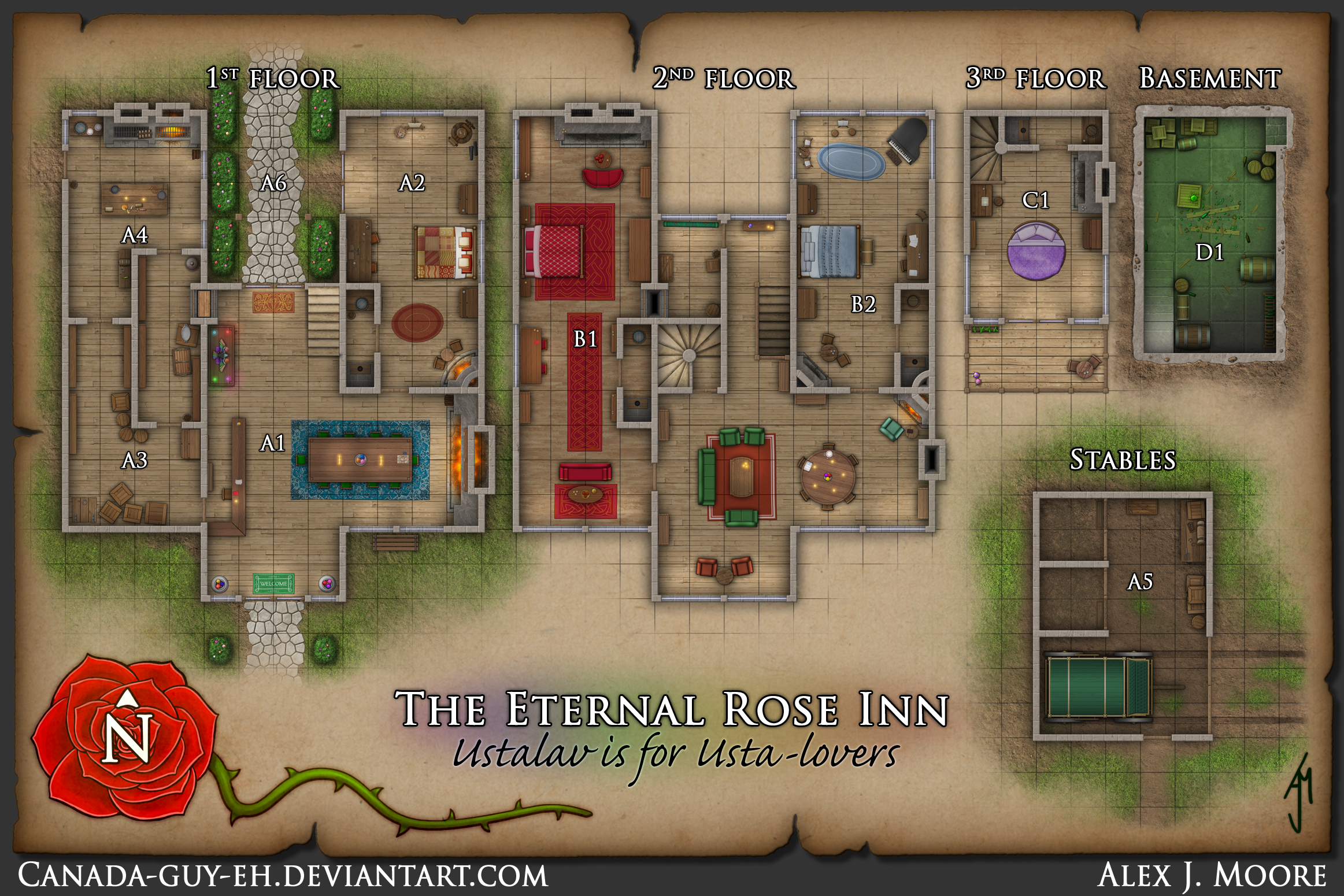 The Eternal Rose Inn Map By Canada Guy Eh On Deviantart