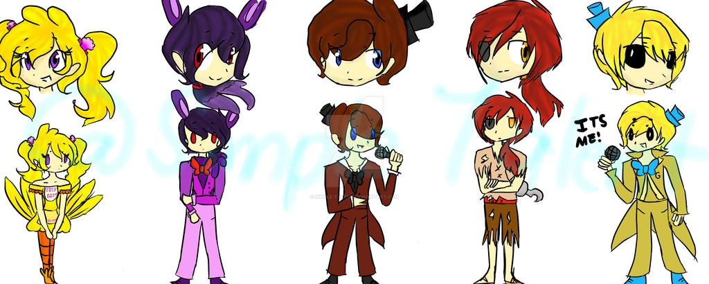 Human FNAF Designs by Simple-Talent