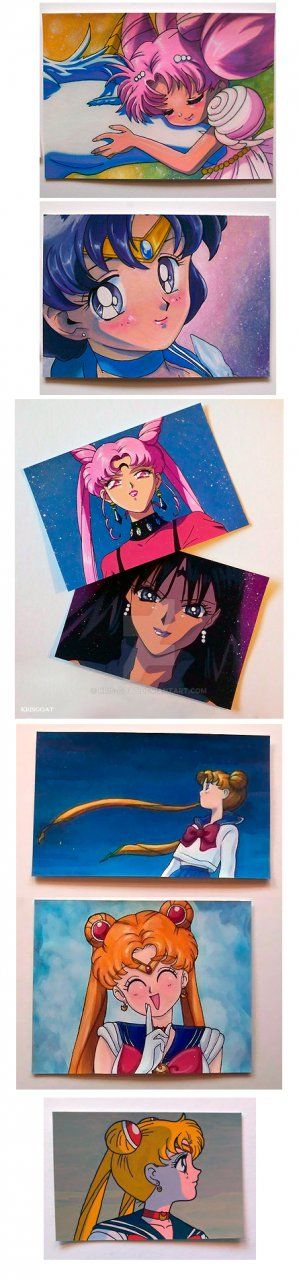 Small sailormoon gouache paintings by Kris-Goat