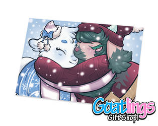 Bundle Up - Goatling Postcards by Kris-Goat