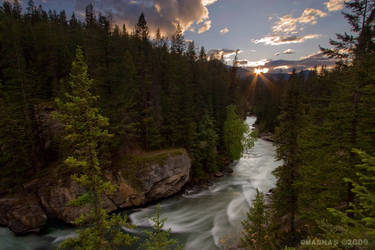 Maligne Canyon Sunset by omagnas