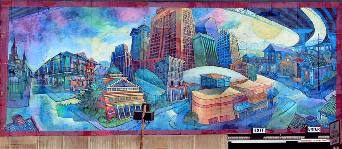A Beautiful Mural on the Hilton in New Orleans