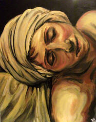 Acrylic - Death of Marat section painting by Sukautto
