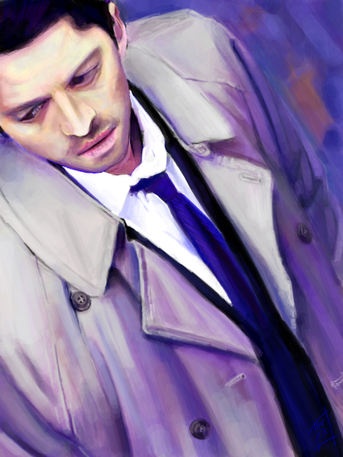 Tegaki E - Castiel Study in Purple by Sukautto