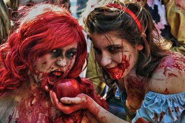 Disney Zombie Walk Snow white and Arielle by chokoretto