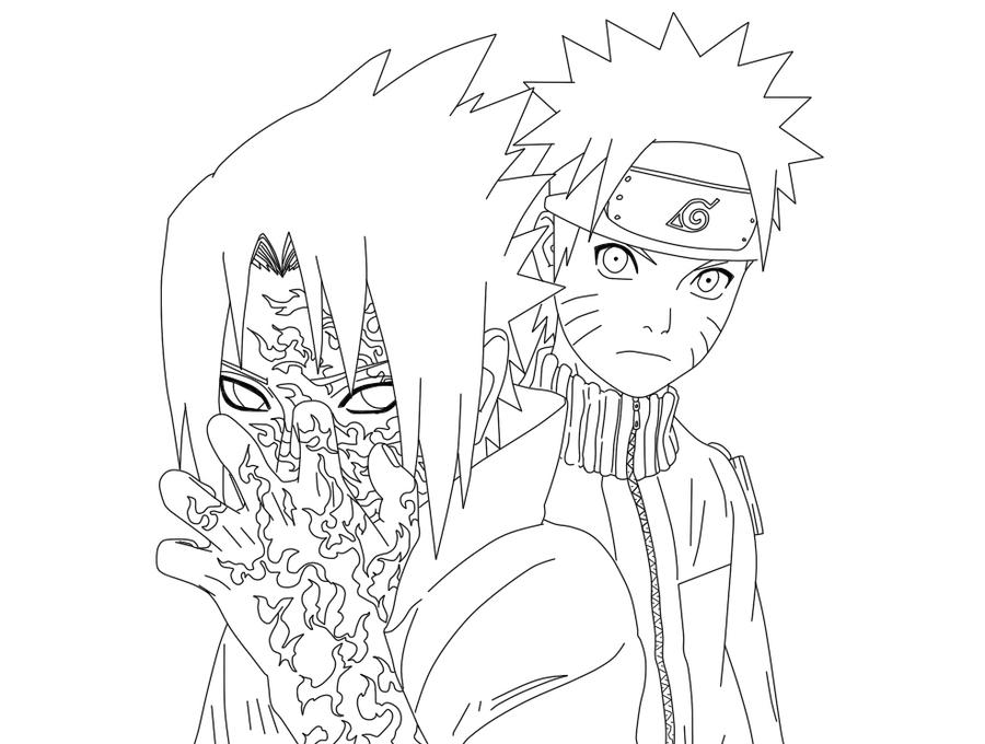 naruto and sasuke with curse mark lineart