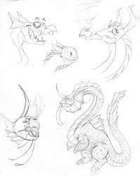 Stylized Dragon Sketches by Inkblot-Rabbit