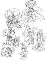 Skullgirls Sketchdump2-Lots of FiliaPainwheel by Inkblot-Rabbit