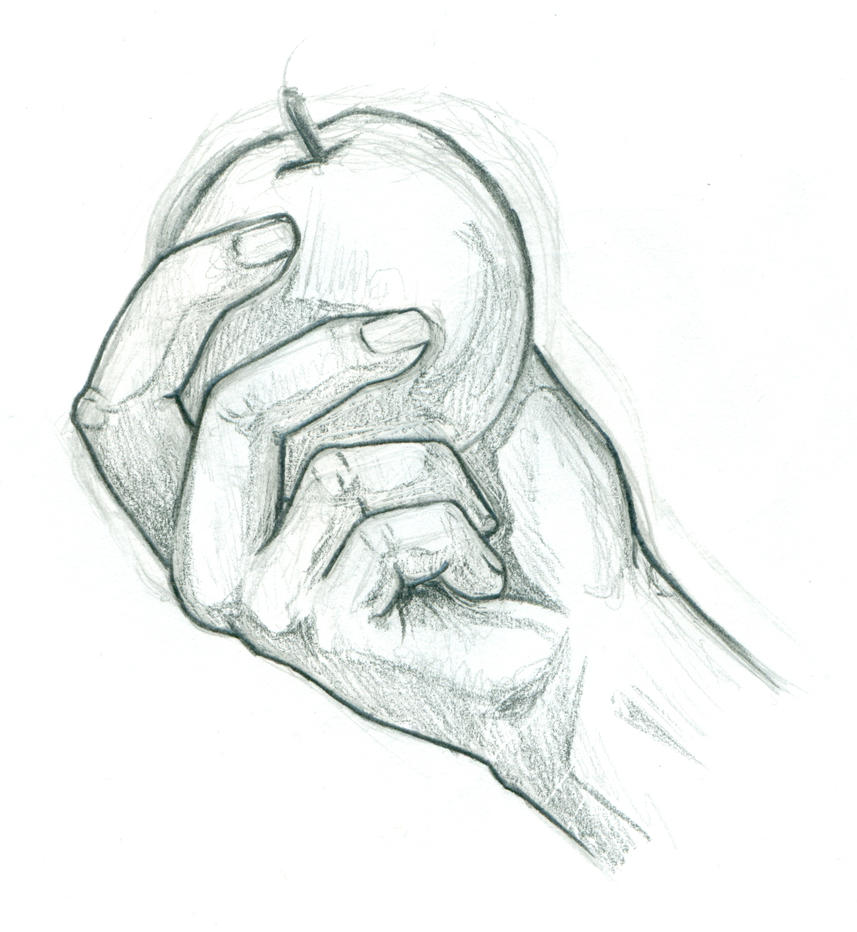 hand holding apple by Eyad-mangafreak on DeviantArt Hands Holding Something Drawing
