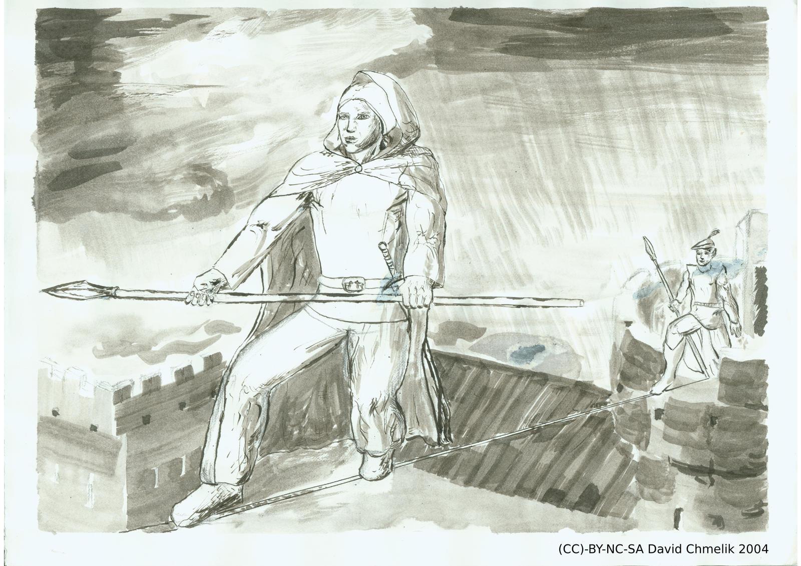 Tyran Alaric of Sherwood and Darwin on Tightrope by dchmelik