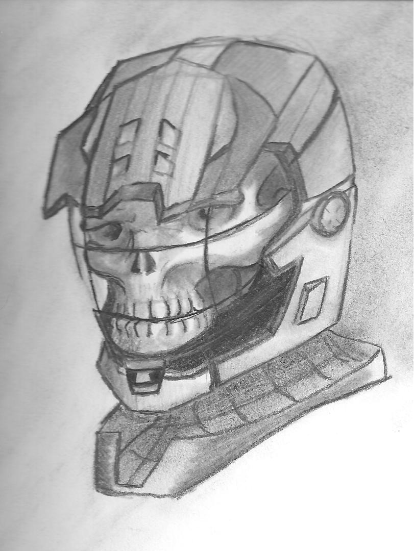 This is a graphic of Tactueux Halo Helmet Drawing