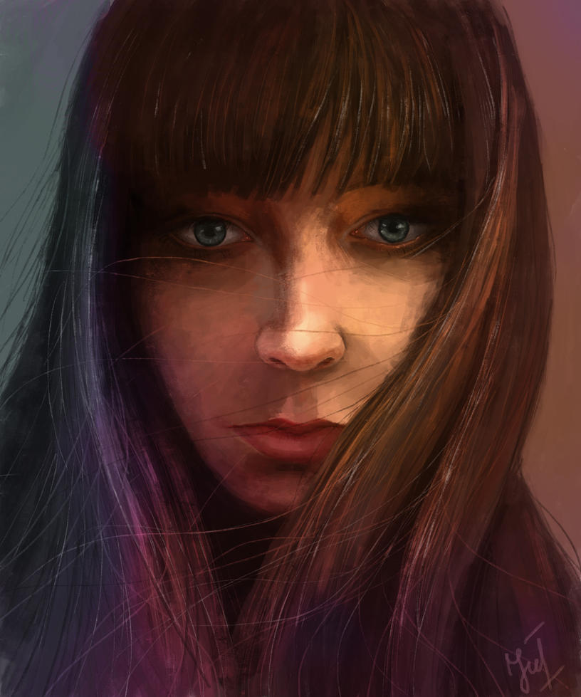 Self portrait digital painting by JuliaBullet
