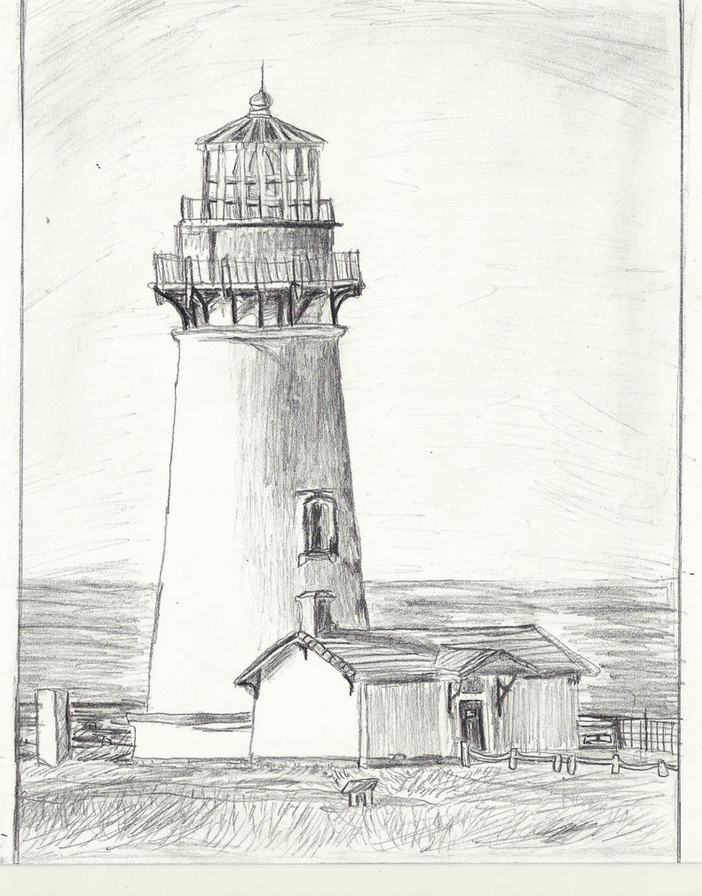 Line Art Lighthouse : Yaquina head lighthouse drawing increased shading by