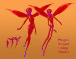 Winged, Sentient, Living Flowers by Spearhafoc