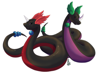 Kaos and Mithril the shadow dragonair twins V2 by Nikkoamphy